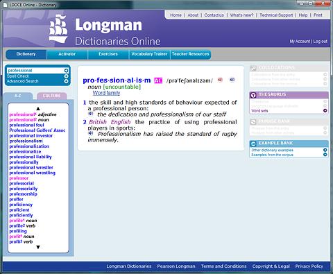 Screenshot of LDOCE online